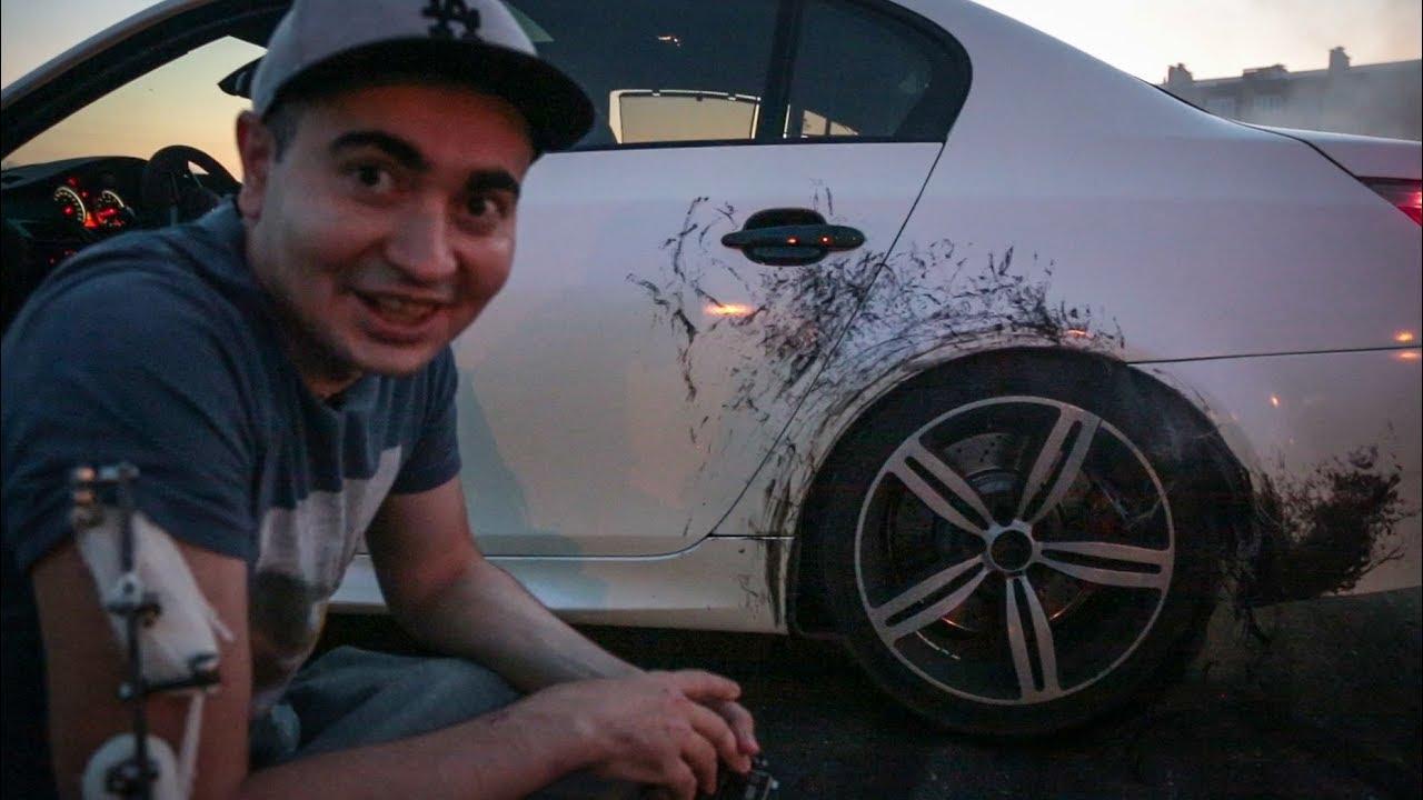 BMW M5 : Взорвалось колесо...пленке конец...бампер расплавился... =(