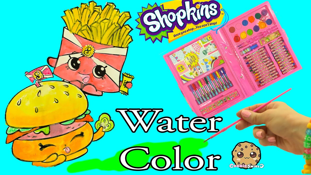 Shopkins Art Set Marker Water Color Fast Food Picture Painting