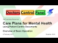 Care Plans For Mental Health Using Patient Centric Documents in the DCP - Overview for February 2017