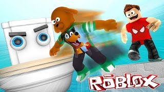 ROBLOX - DONUT FLUSHES BABY MAX DOWN THE TOILET - Donut the Dog