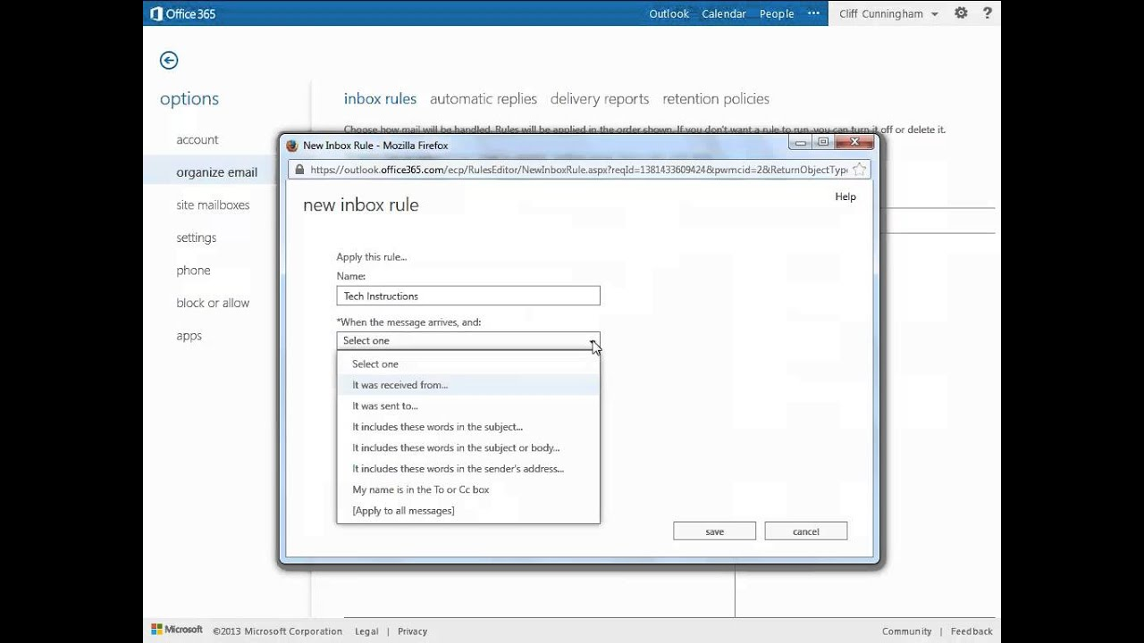 Rules - Office 365 Outlook Web App - Email