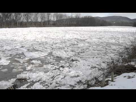 Ice flow on the river in Jersey Shore ,Pa.
