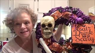 DIY Halloween Wreath Using Dollar Tree Plastic Table Covers