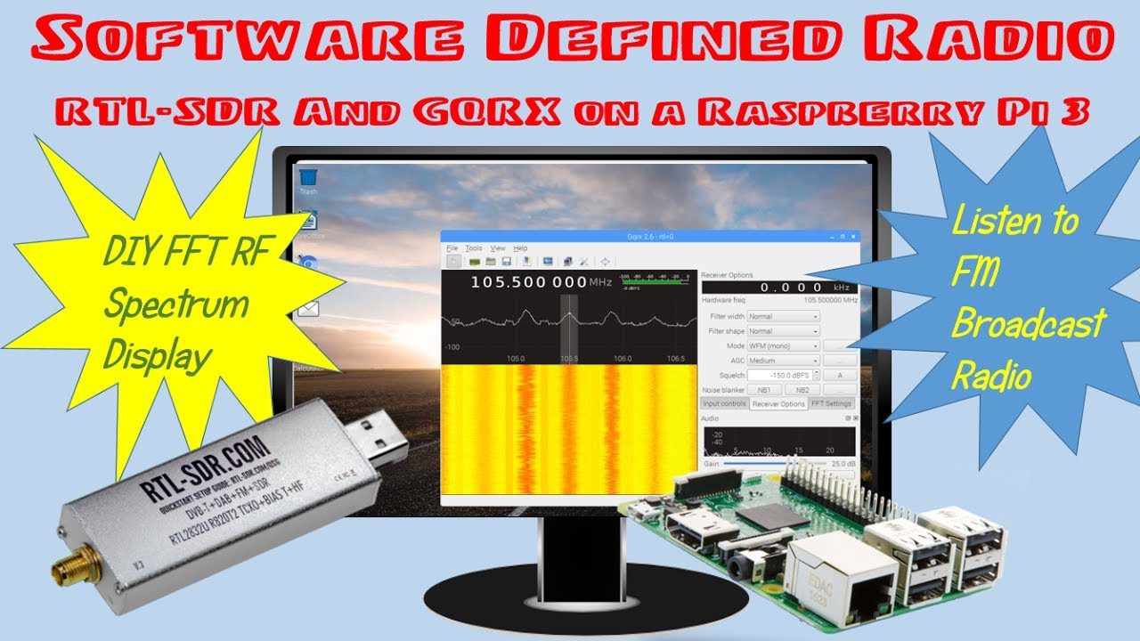 Software Defined Radio: How to Use a RTL-SDR and GQRX with a Raspberry Pi 3