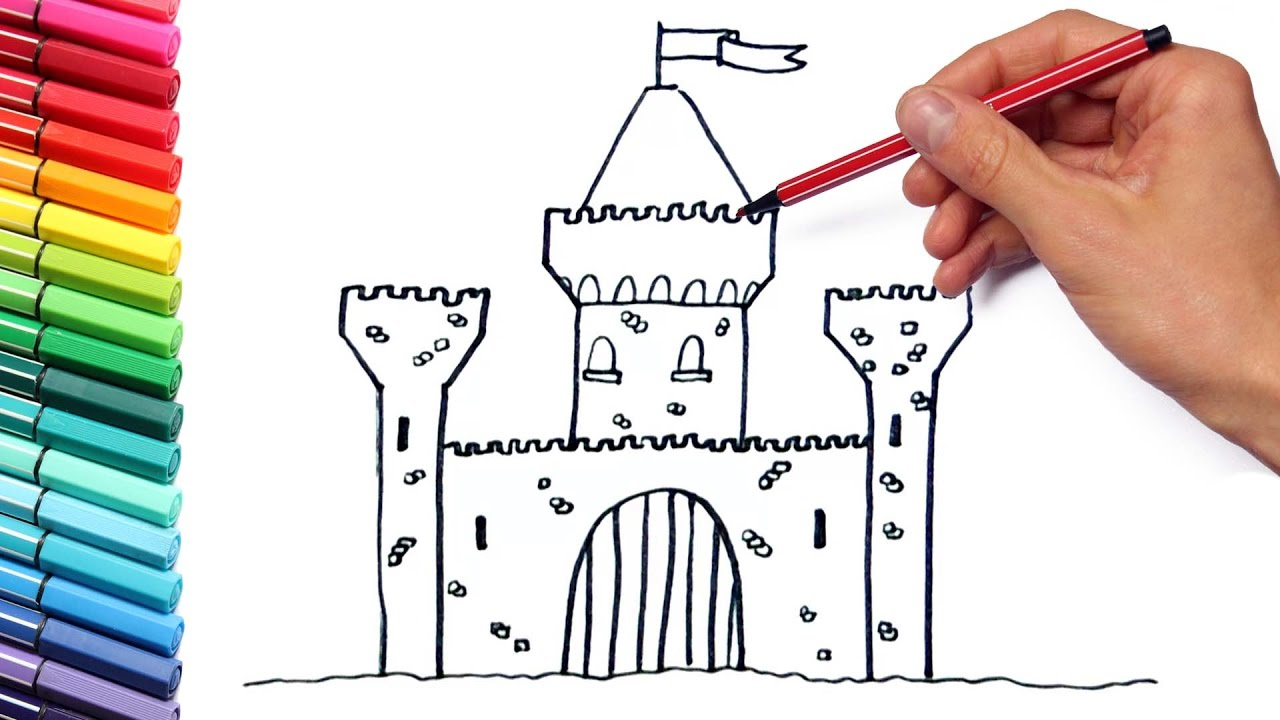 drawing castle for learning colors and coloring pages medieval