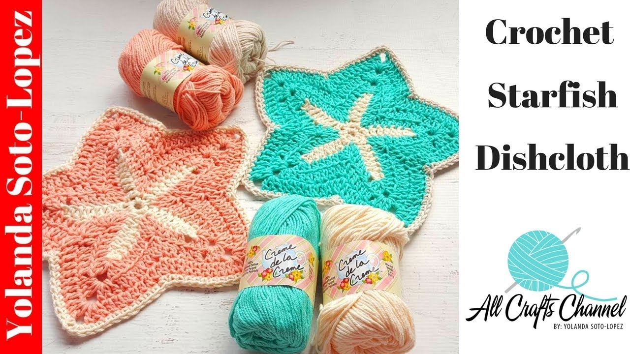 How to crochet a Starfish discloth - YouTube