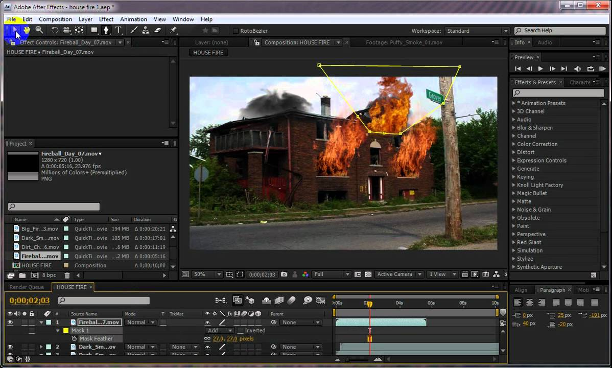 After effects house fire vfx tutorial youtube for Habitacion 3d after effects