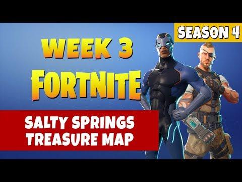 Fortnite Salty Springs Treasure Map Challenge Location - Season 4 Week 3 Challenges