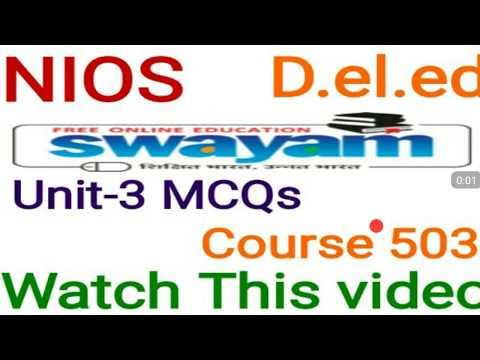 Mcqs Unit-3 Course 503 D.el.ed online learning