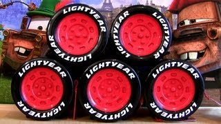 5 Tomica Cars Collection Lightyear Tire Storage 2013 Lightning McQueen Diecast Disney Mater Sally