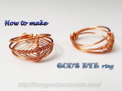"""Ring inspired """"God's eye craft"""" - How to make handmade jewelry from copper wire 493"""