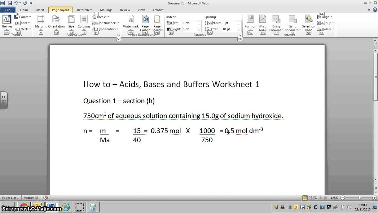 Acid bases and buffers worksheet 1 question 1 h youtube acid bases and buffers worksheet 1 question 1 h robcynllc Choice Image