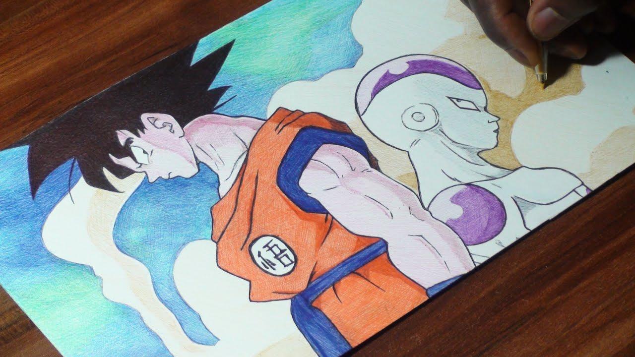 Goku Vs Frieza Pen Drawing - Dragon Ball Z 87 - DeMoose ... - photo#15