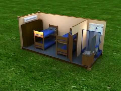 Contenedor dormitorio 4 personas youtube - Como hacer una casa con un contenedor maritimo ...