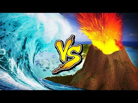 Minecraft  TSUNAMI VOLCANO BASE CHALLENGE  (Volcano Vs Tsunami)