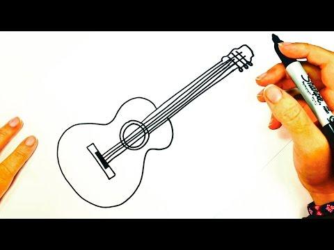 Cómo dibujar una Guitarra Acústica paso a paso | Dibujo fácil de una ...