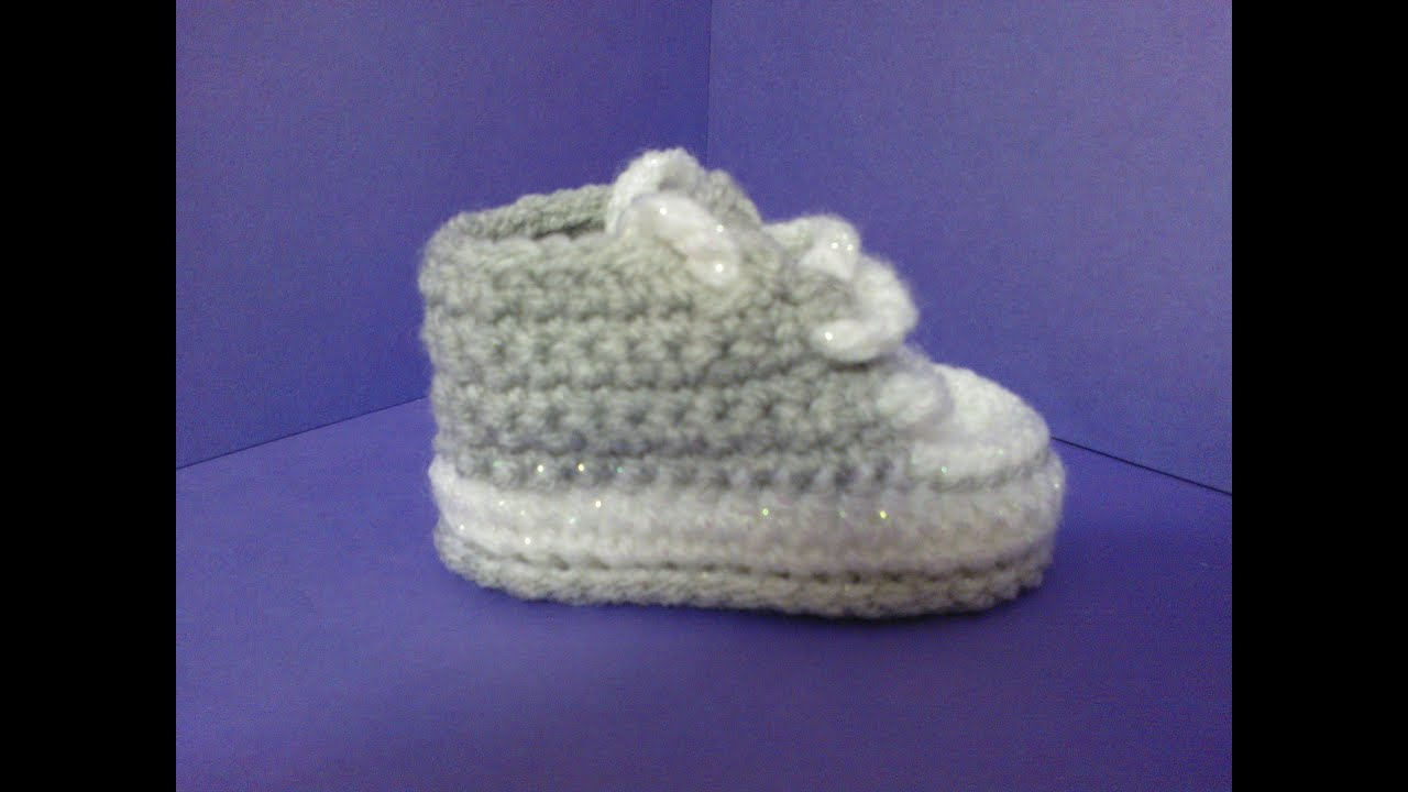 30888704f00 How to crochet My easy new born baby converse style slippers p1 ...