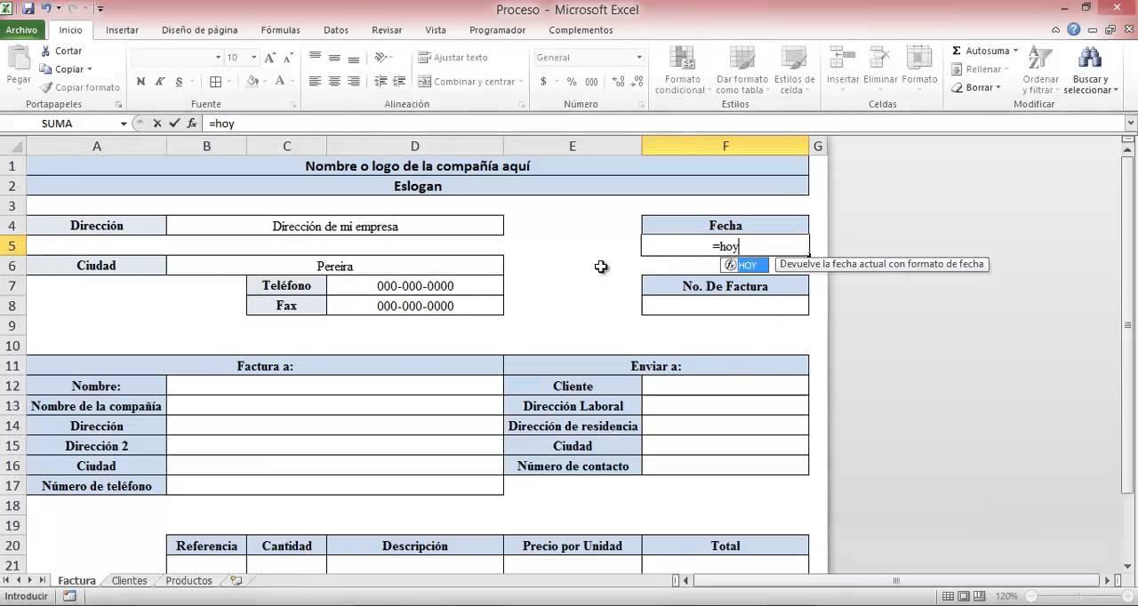 Crear una factura con excel en pocos pasos youtube for Como hacer una nomina en excel con formulas