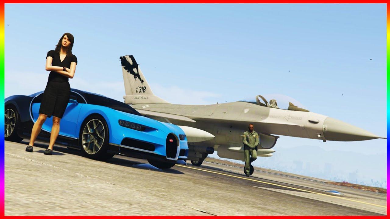 bugatti chiron vs f 16 fighter jet 4k uhd grand theft. Black Bedroom Furniture Sets. Home Design Ideas