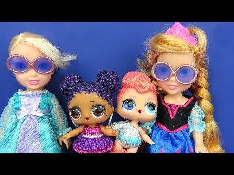 LOL Surprise Dolls ! Elsa and Anna toddlers - Big Fizz balls - Bath - Confetti Pop