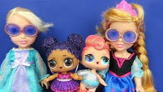 LOL Surprise Dolls ! Elsa and Anna toddlers - Big Fizz balls - Bath - Confetti Pop