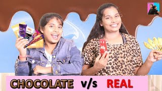 CHOCOLATE vs REAL Challenge l Switch Up Challenges l Ayu And Anu Twin Sisters