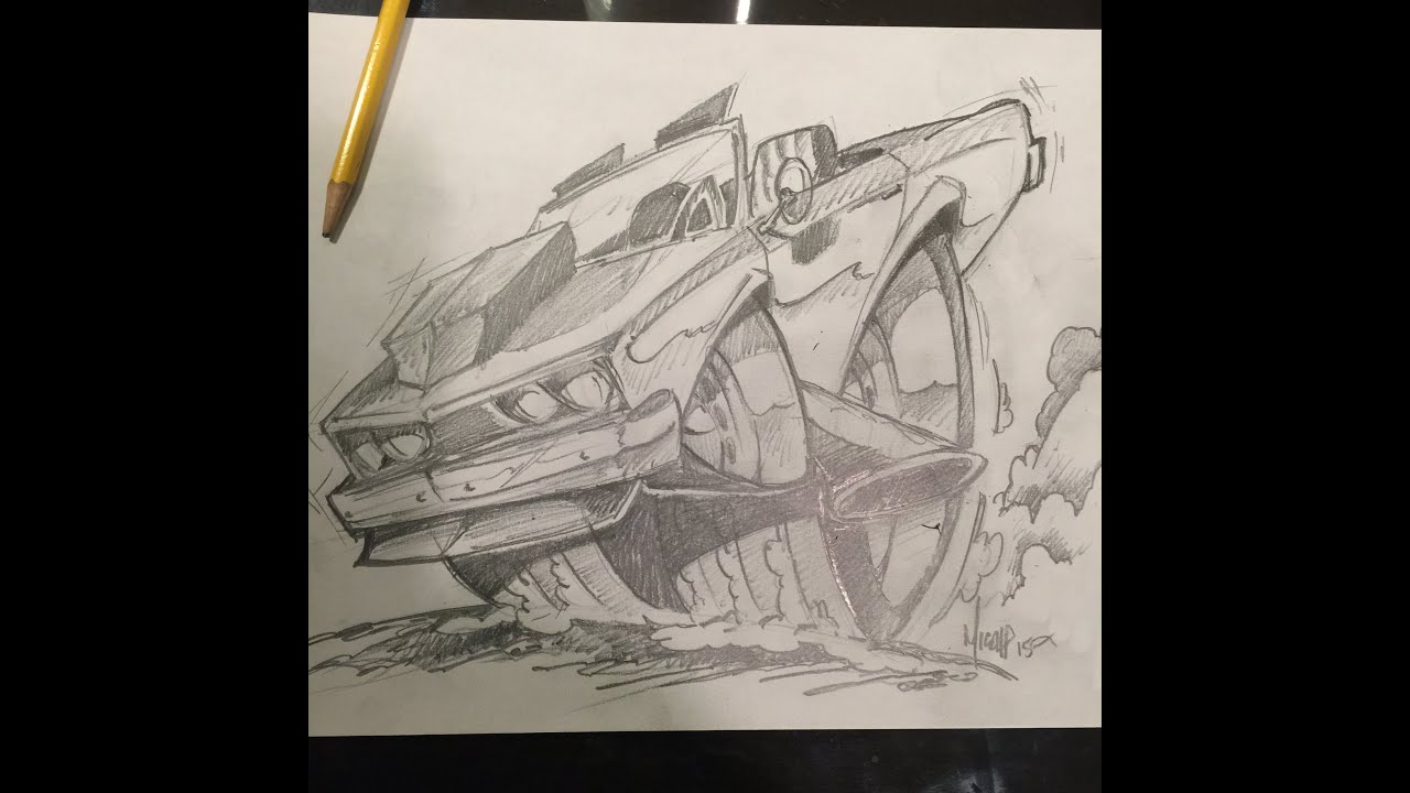 How To Draw A Hot Rod With Tires Time Lapse