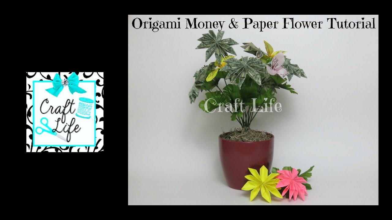 Craft life origami money paper flower bouquet tutorial youtube mightylinksfo