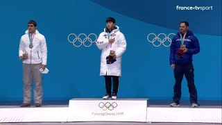 JO 2018 : Skeleton  – remise des médailles Individuel Hommes