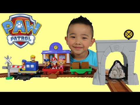Paw Patrol Toys Unboxing Adventure Bay Railway Playset With Rubble Sky Marshal Chase Ckn Toy