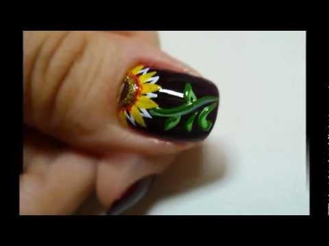Nail Art Girasoles Youtube