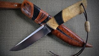 Нож ручной работы из Х12МФ(Клинок Х12МФ, рукоять кап акации и мореный дуб. Больстер латунь. Ножны кожа растительного дубления., 2016-04-02T12:21:47.000Z)