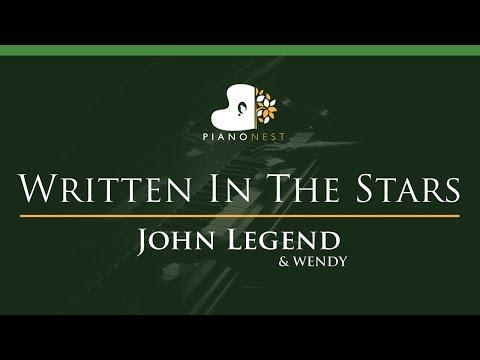 John Legend & WENDY - Written In The Stars - LOWER Key (Piano Karaoke / Sing Along)