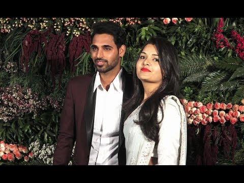 Bhuvneshwar Kumar With Wife Nupur Nagar At Virat Anushka Reception In Mumbai