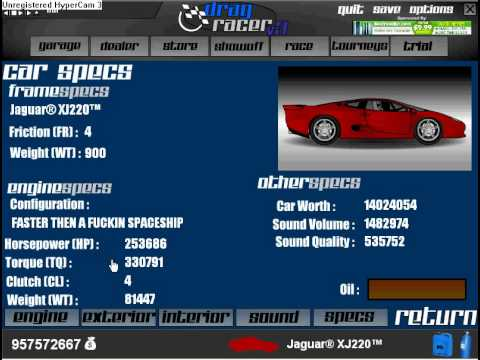 Top Speed in Drag racer v3 - 973 MPH with Jaguar XJ220 - YouTube