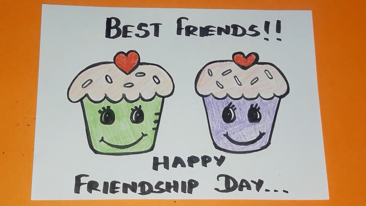 Happy Friendship Day Greeting For Kids How To Draw Cupcake Friendship Drawing Youtube
