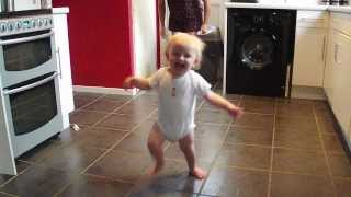 Baby Macready's first steps, walks like a drunk!!!! Funny baby first steps.