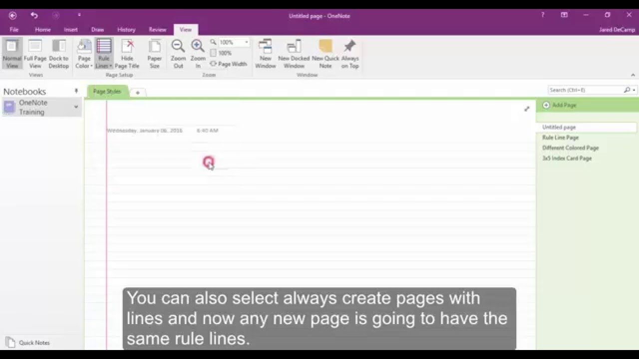 onenote grid lines rule lines page colors and page size youtube