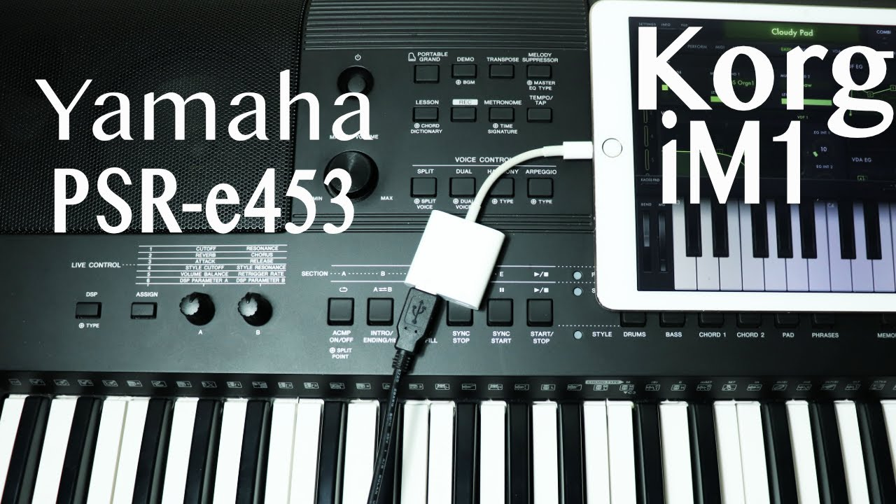 how to use yamaha psr e453 as midi controller for ipad 2018 youtube. Black Bedroom Furniture Sets. Home Design Ideas