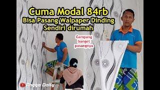Cuma modal 84rb udah bisa pasang walpaper dinding di rumah