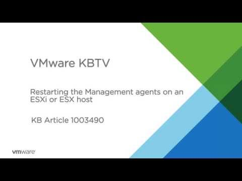 Restarting the Management agents on an ESXi or ESX host