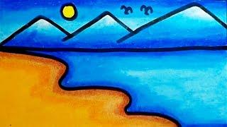 Cara Menggambar Pemandangan Pantai Dan Gunung Mudah How To Draw Beach Scenery Easy Step By Step Youtube