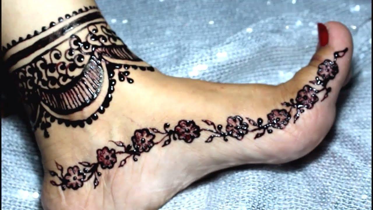 Leg Mehndi Designs Step By Step : Beautiful anklet leg mehndi design step by steplatest