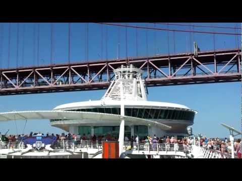 Independence of the Seas - Passing under the 25th of April Bridge, Lisbon, Portugal