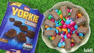 Mixing Yorkie Chunks Candy with New M&M Collection