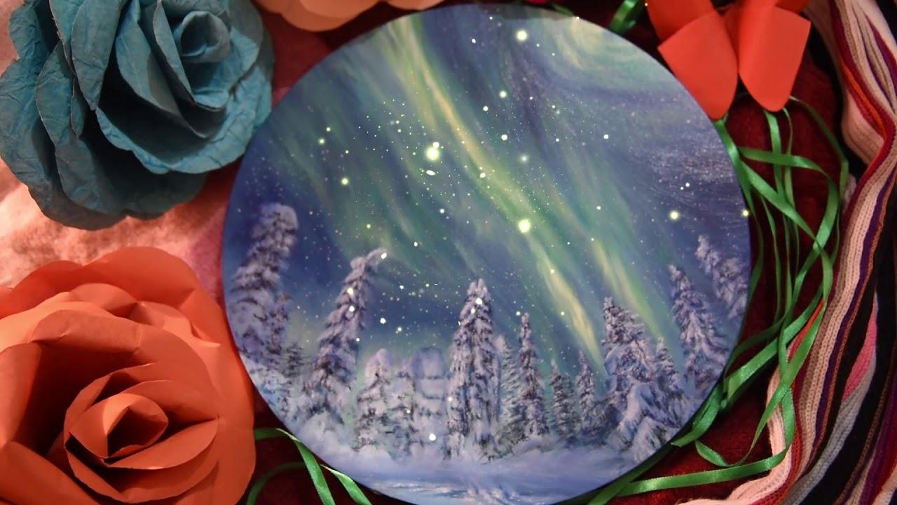 Download #Creatingsplendour | 2020 Christmas Art | Oil painting | Aurora borealis | Arpita Basak