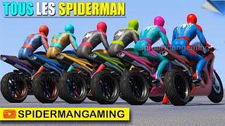 Tous les Super-Héros Spiderman difficiles défi de RAMPE de plage avec des motos de sport- GTA V Mods