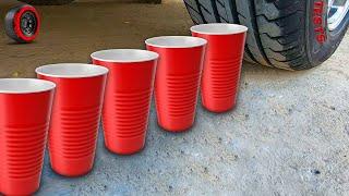Crushing Crunchy & Soft Things by Car - ASMR experiment: Cups vs car