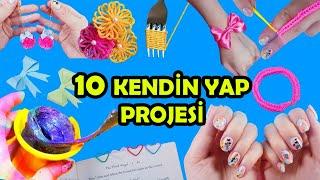 10 KENDİN YAP PROJESİ - EVDE SIKILMAYA SON! - Tırnak Deseni, Slime, Bileklik ve Daha Fazlası