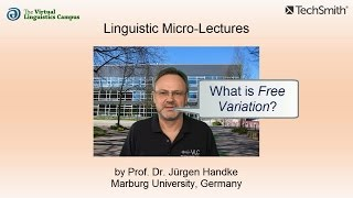 Linguistic Micro-Lectures: Free Variation